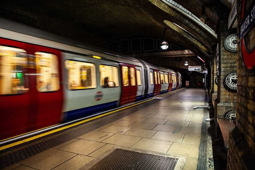 London tube at Baker Street Station