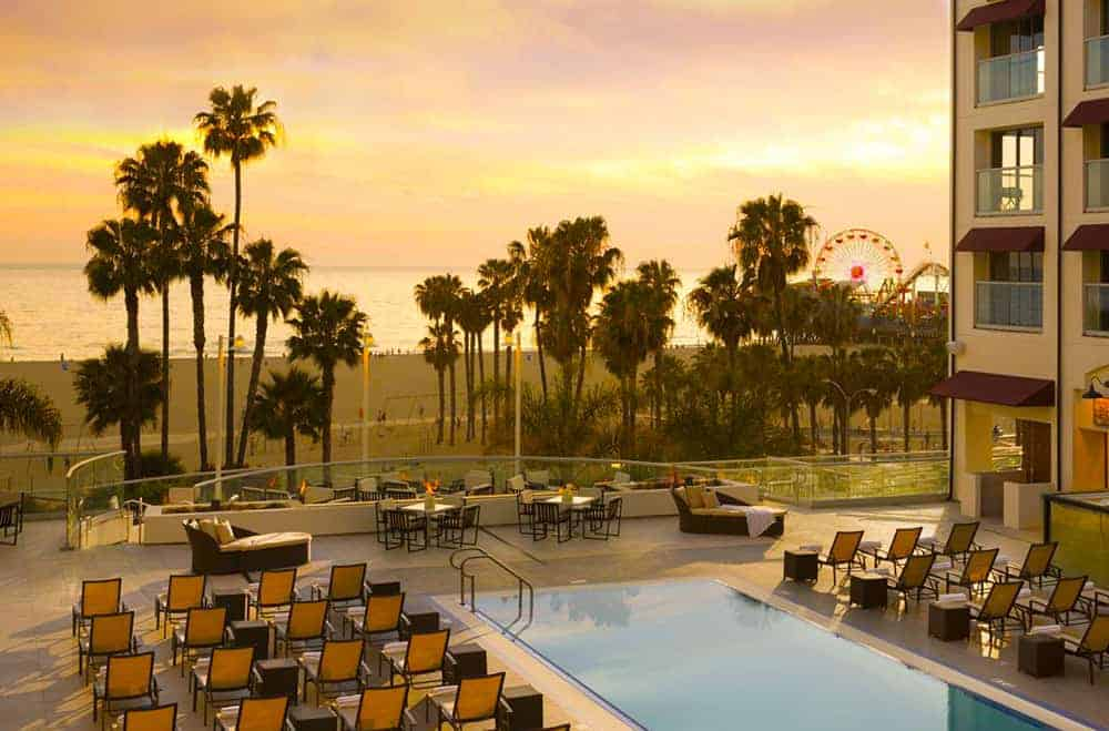 Loews Santa Monica Beach pool and fire pits