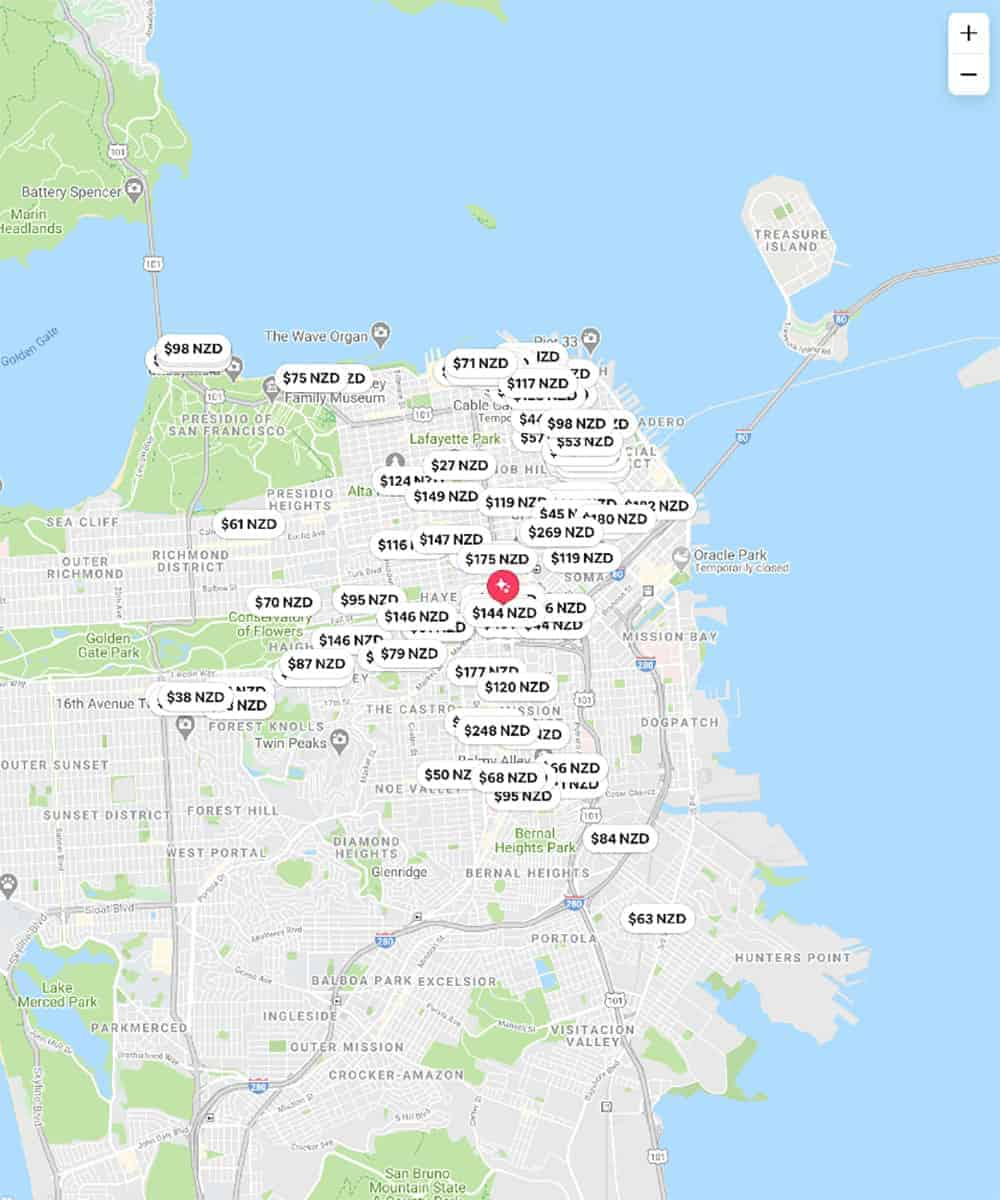 San Francisco Air BnB Map