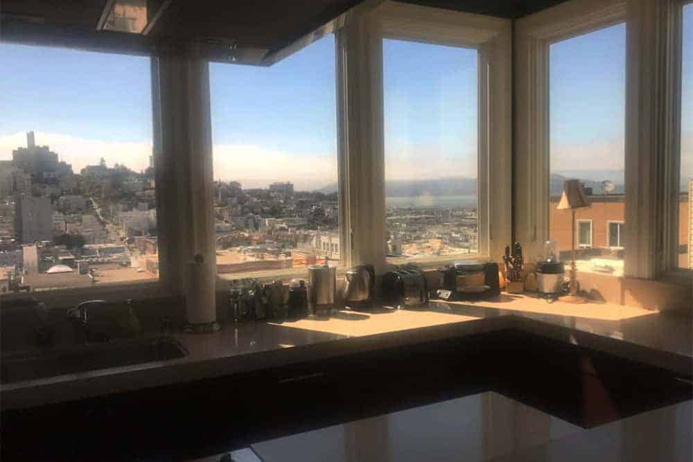 View from the kitchen towards Sausalito and the Golden Gate Bridge
