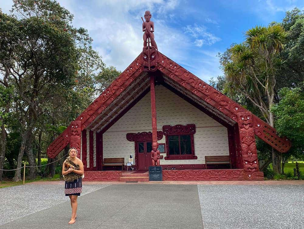 Being welcomed into the Waitangi marae for the Maori culturel show