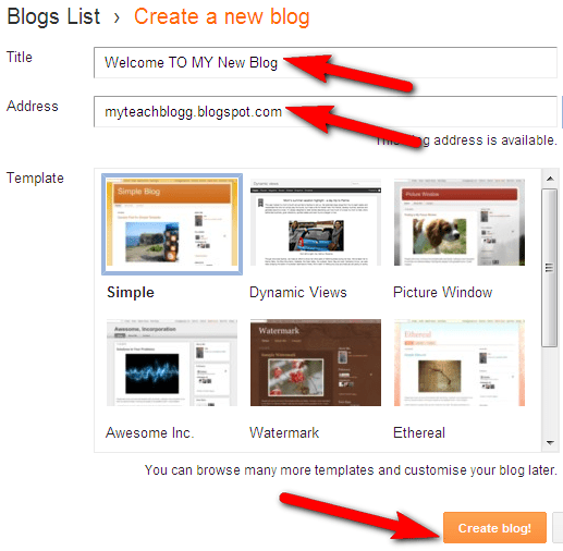 make blog for kids blogger step 2
