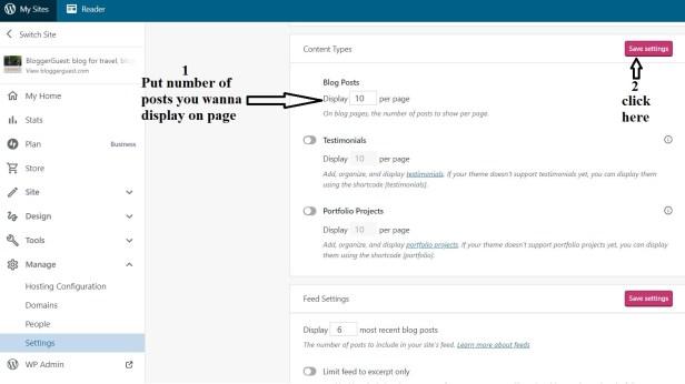 Display number of posts settings in wordpress blog