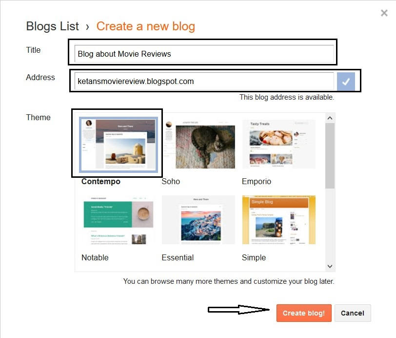 Create a free blog on blogger to earn money step 2