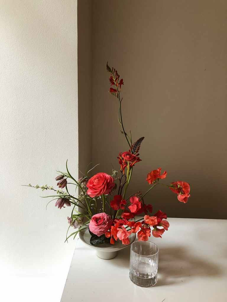 Ikebana Japenese art of flower arrangement in beautiful way