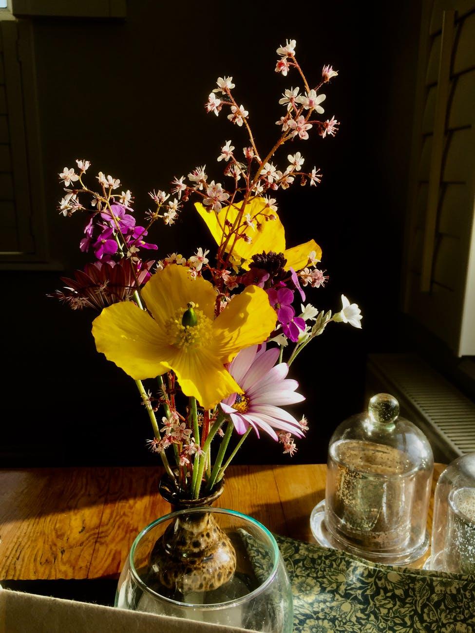 Upright style moribana - Ikebana art of flowers arrangement