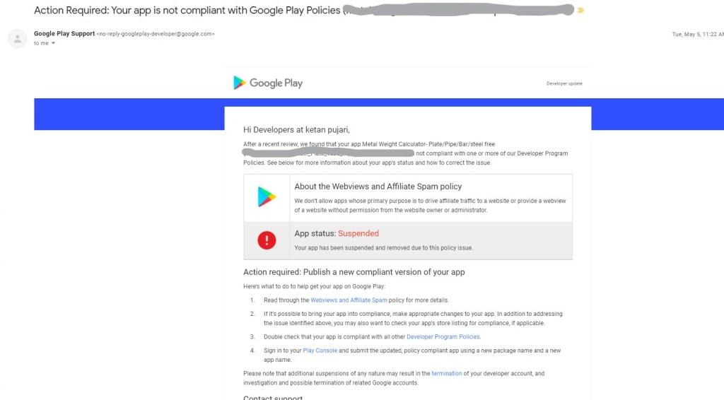 Your app is not compliant with Google Play Policies  Webview
