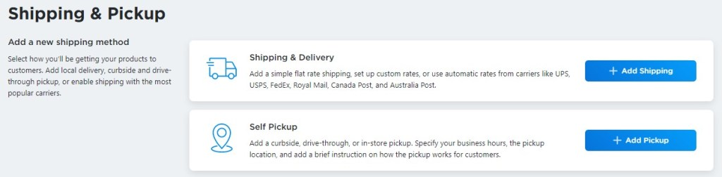 Ecwid shipping and Pickup options for blogger