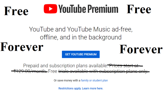 How to get YouTube Premium for free forever?