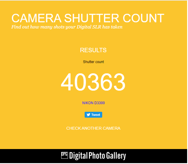 How to check shutter Actuations of DSLR camera by Uploading photo?