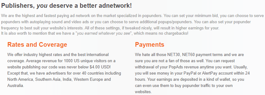 Popads - Best popunder ad network in the world