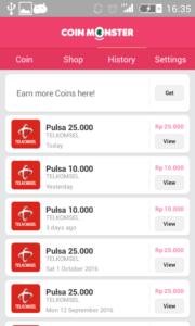 bukti pembayaran pulsa gratis coin monster Apk 1