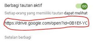 cara membagikan url file yang disimpan di google drive 2