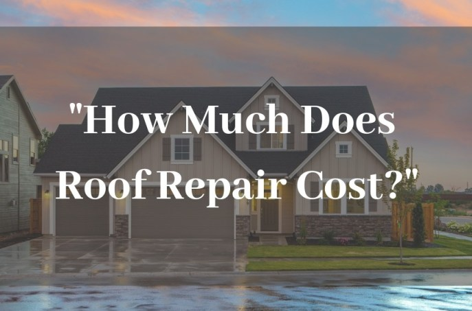 """How much does roof repair cost?"" in text, across a background image of a beautiful home after a rain."