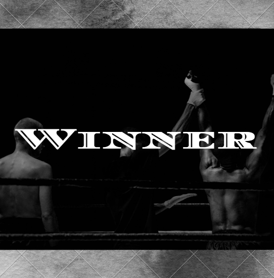 """WINNER"" across faded picture of victorious hand being raised in a boxing ring, next to defeated opponent. Gray tile background."