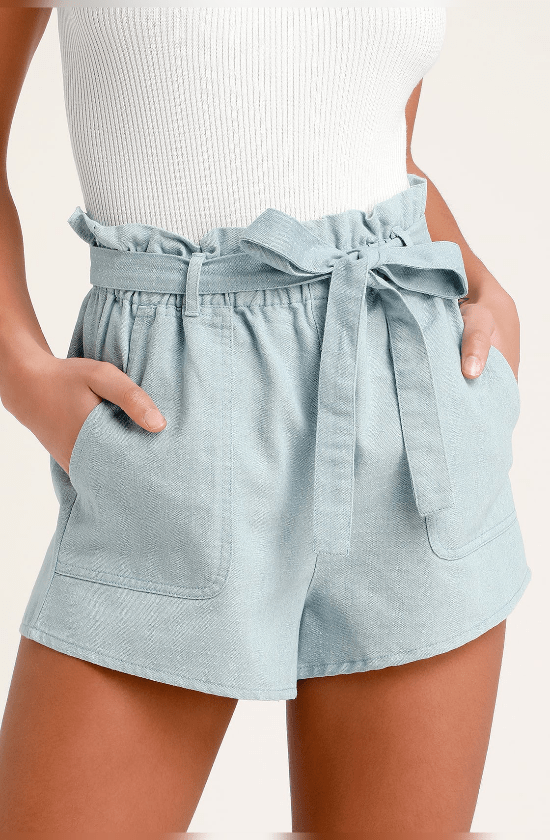 https://www.lulus.com/products/harper-blue-chambray-paper-bag-waist-shorts/719342.html