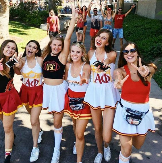College girls enjoying themselves on gameday