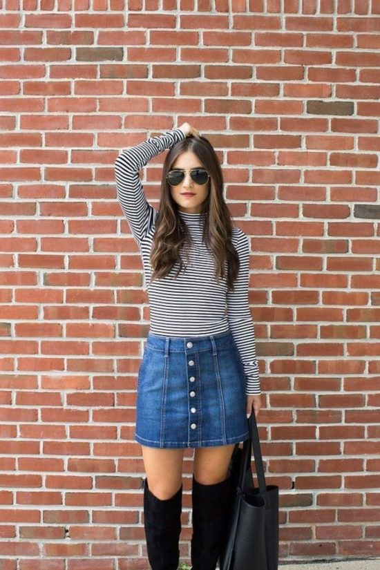 10 Ways To Rock A Denim Skirt During The Day