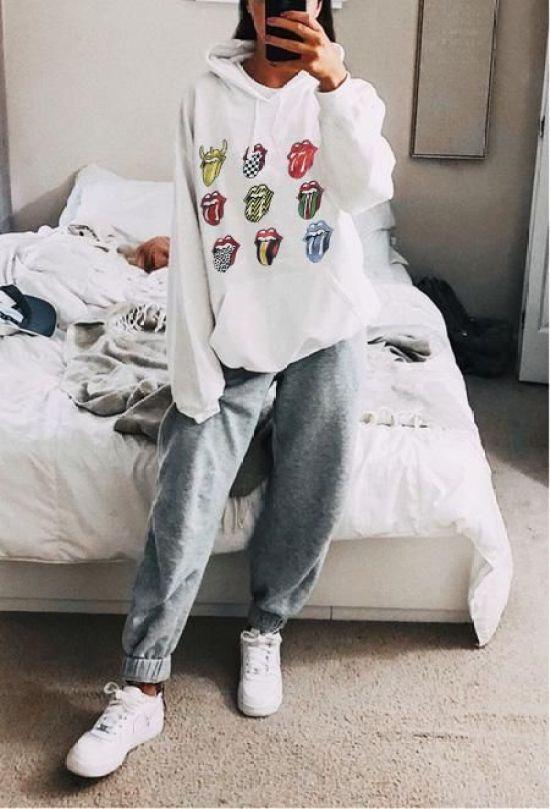 Brief Printed Colour Pocket Sweatshirt sweatpantsoutfit Brief Printed Colour Pocket Sweatshirt – sissbest - 15 Work Out Home Outfits Ideen, in denen Sie fantastisch aussehen werden
