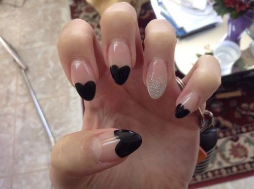 Black Heart French Tip with White Accent
