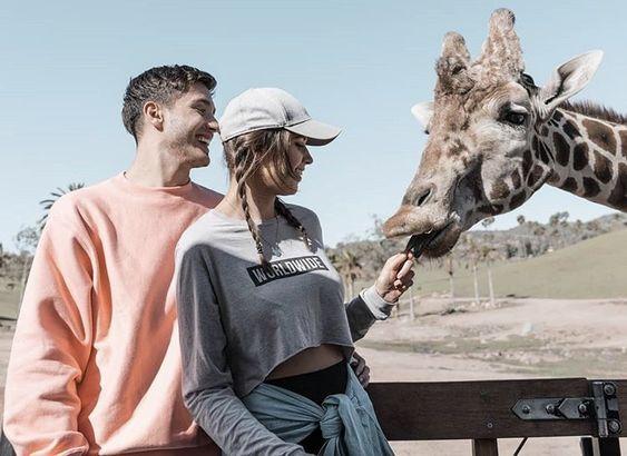 couple feeding a giraffe at the zoo