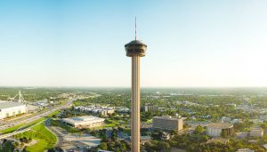 Towers of the Americas overlook downtown San Antonio