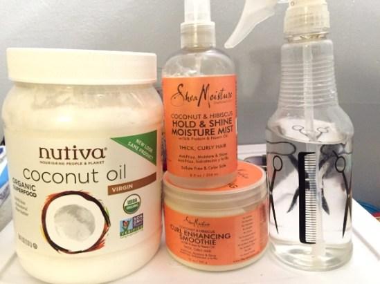 LCO Method: Water in spray bottle, Shea Moisture Cream, and Coconut oil