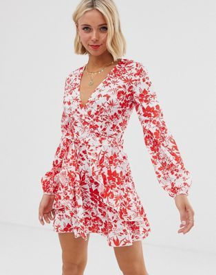 Red and White min wrap dress from asos