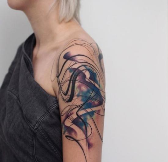 watercolour paint streaks tattoo ideas