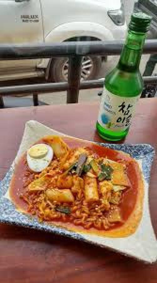 Soju and Ddukbokki Spicy Rice Cake