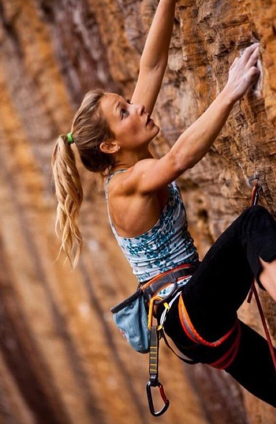 fitness tips: girl rock-climbing