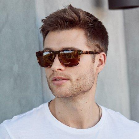 Man Wearing Reveler Sunglasses