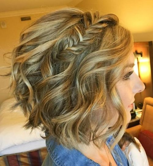 The wavy bob with a fishtail braid is a hairstyle that will make your locks the star anywhere you go.