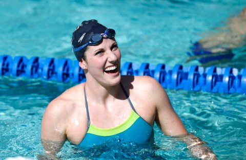 Jun 18, 2015; Santa Clara, CA, USA; Missy Franklin (USA) in the pool during her warm up session on Day One of the Arena Pro Series at Santa Clara, at the George F. Haines International Swim Center in Santa Clara, Calif. Mandatory Credit: Bob Stanton-USA TODAY Sports