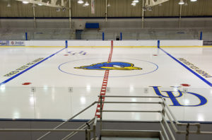 New graphics on the ice of the Fred Rust Ice Arena.