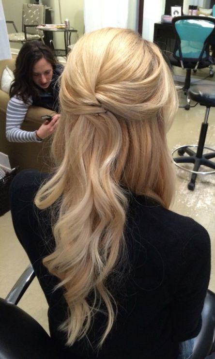 This is one of the cutest half up half down hairstyles for long hair!