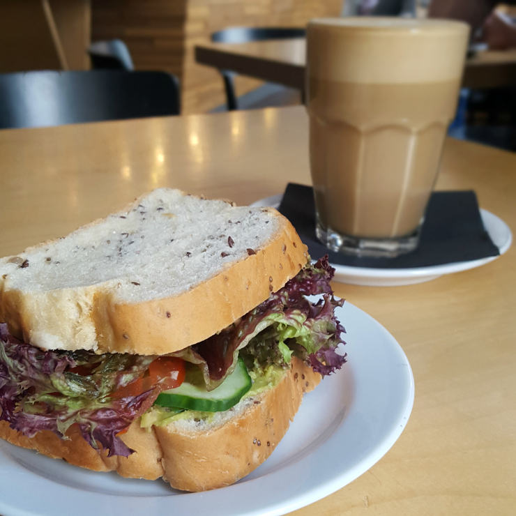 Miit cafe vegan salad sandwich and latte