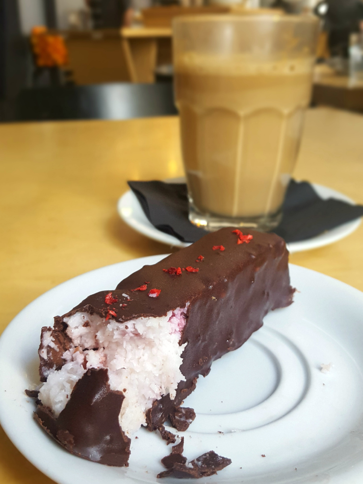 Miit cafe vegan cherry bounty bar and almond latte