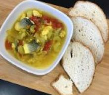 Spicy Sea-bass soup with gluten free bread