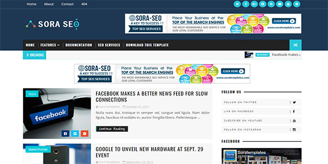 Blogger templates 2018 best free seo ready blog templates sora seo blogger template wajeb Choice Image