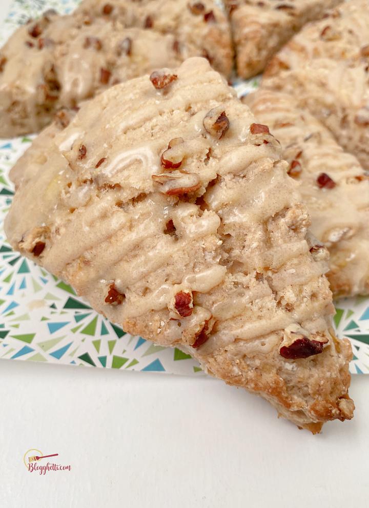 close up of banana bread pecan scones