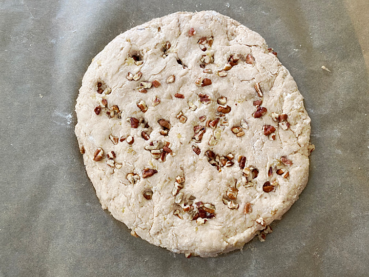 rolled out banana nut scone dough