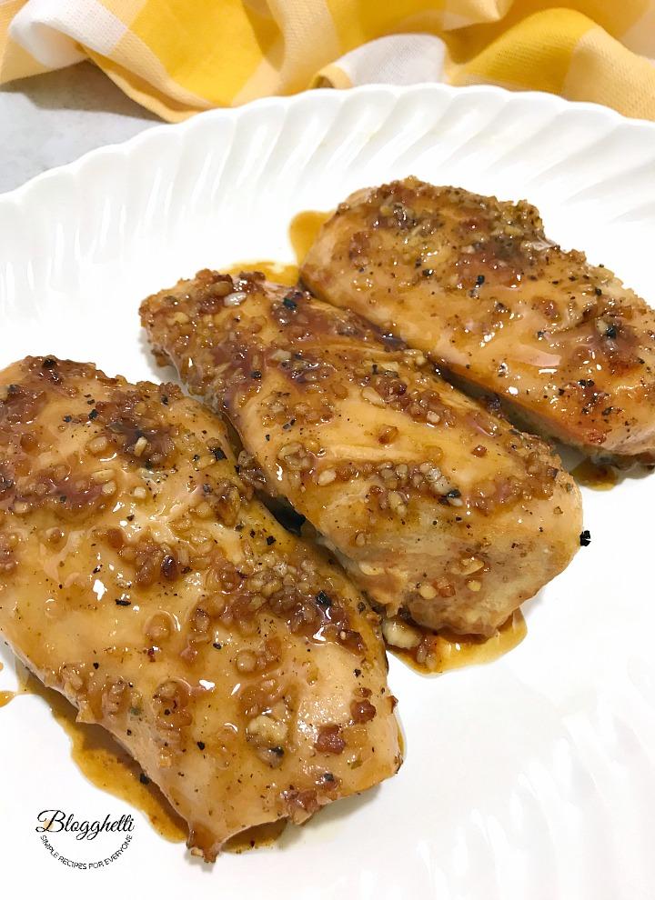 Brown Sugar Garlic Chicken on white platter