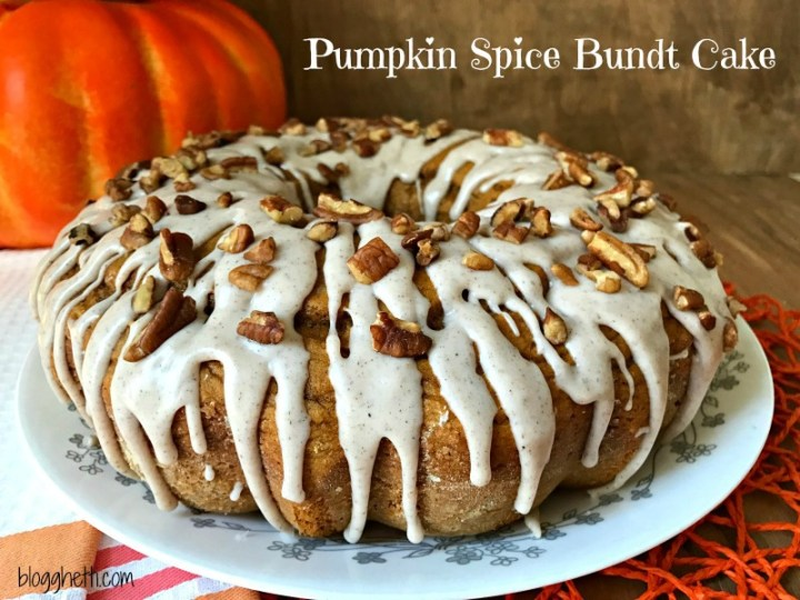 This simple & easy 3 ingredient Pumpkin Spice Bundt Cake is topped with a spiced glaze and chopped pecans.