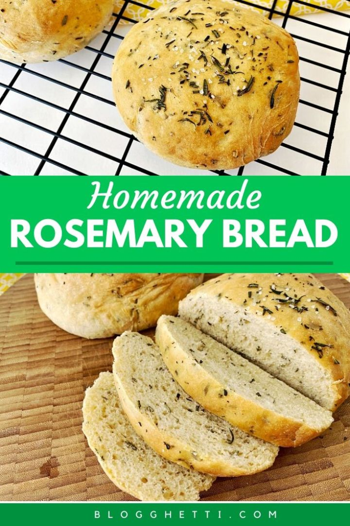 homemade rosemary bread image for pinterest