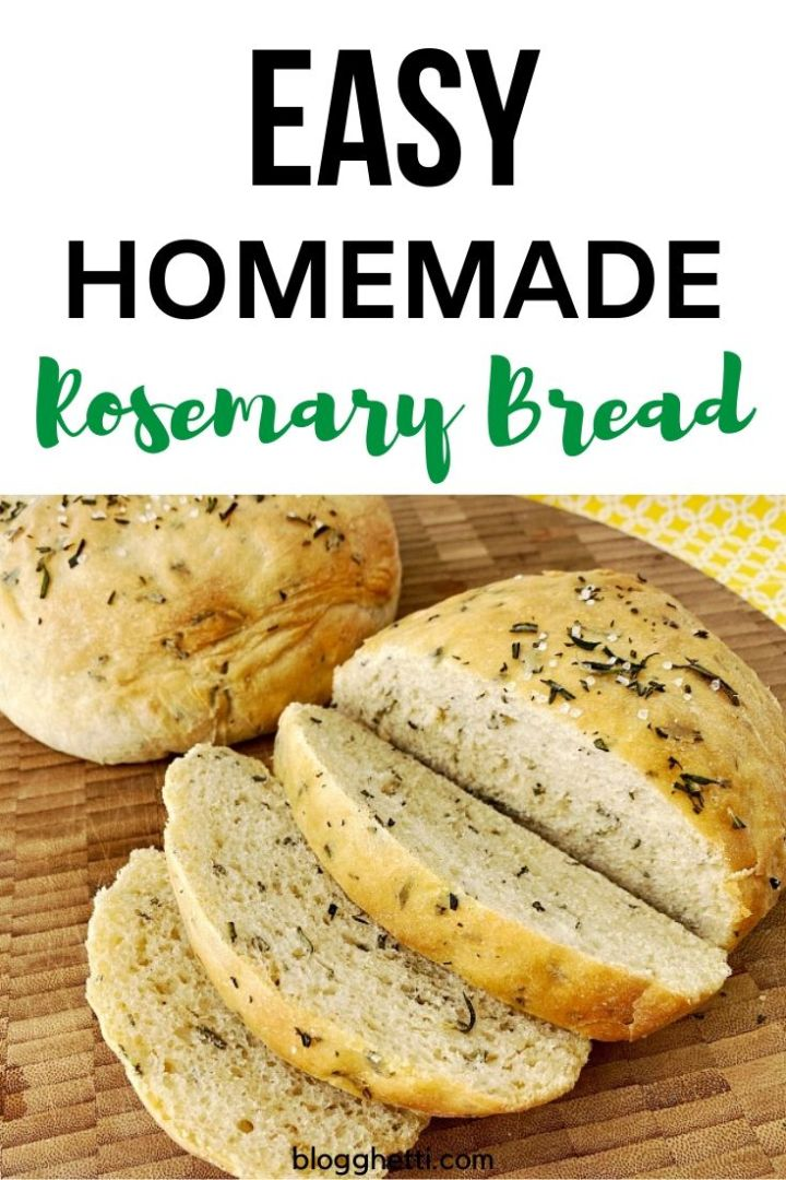 homemade rosemary bread pinterest image