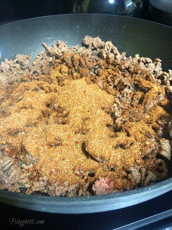 ground beef with homemade taco seasoning