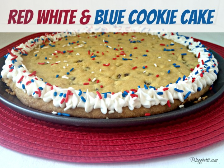 red white and blue cookie cake
