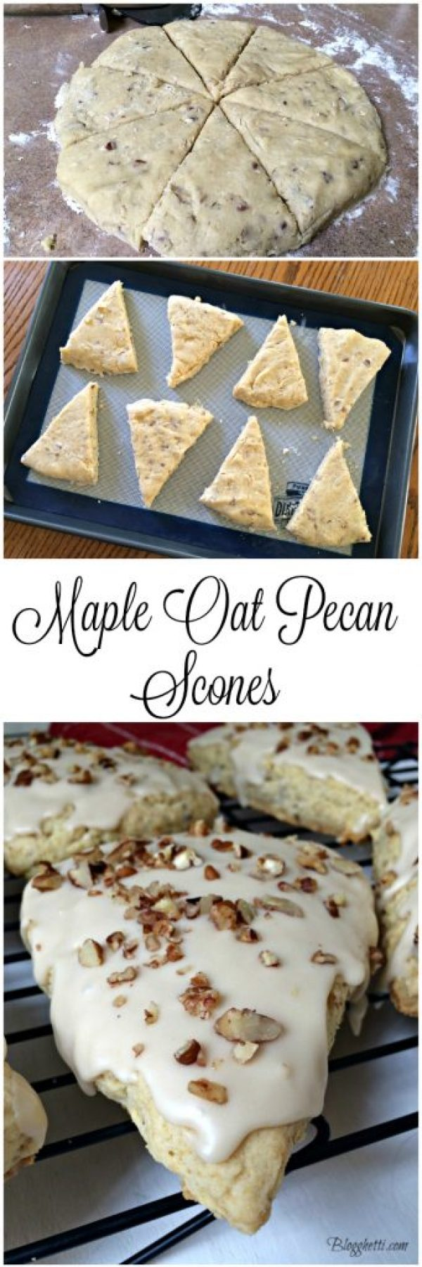 This Maple Oat Pecan Scone is filled with pecans, maple flavorings and then iced with a maple-coffee glaze and then topped with chopped pecans.