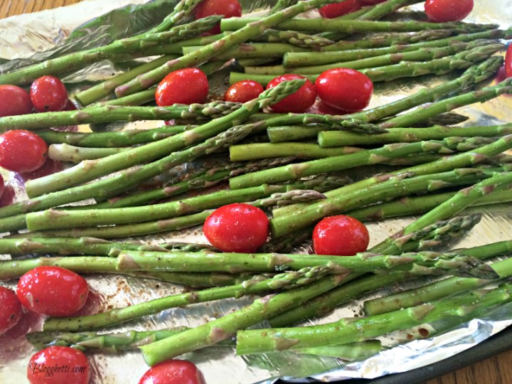 roasted asparagus and tomatoes before